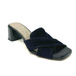AGL Blue Suede Mules Slip on Sandals Square Heel